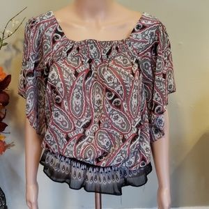 Mudd paisley print blouse black red white